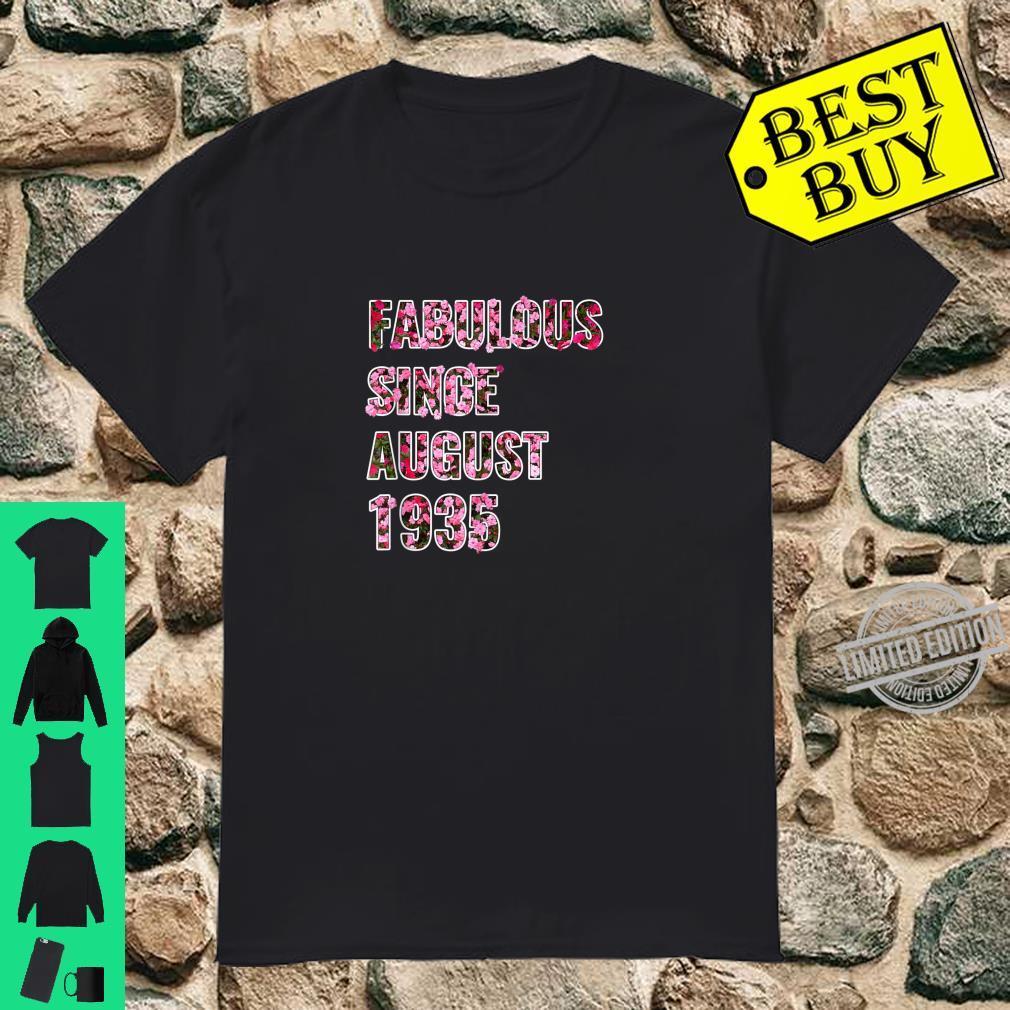 86th Birthday Idea Fabulous Since August 1935 Shirt