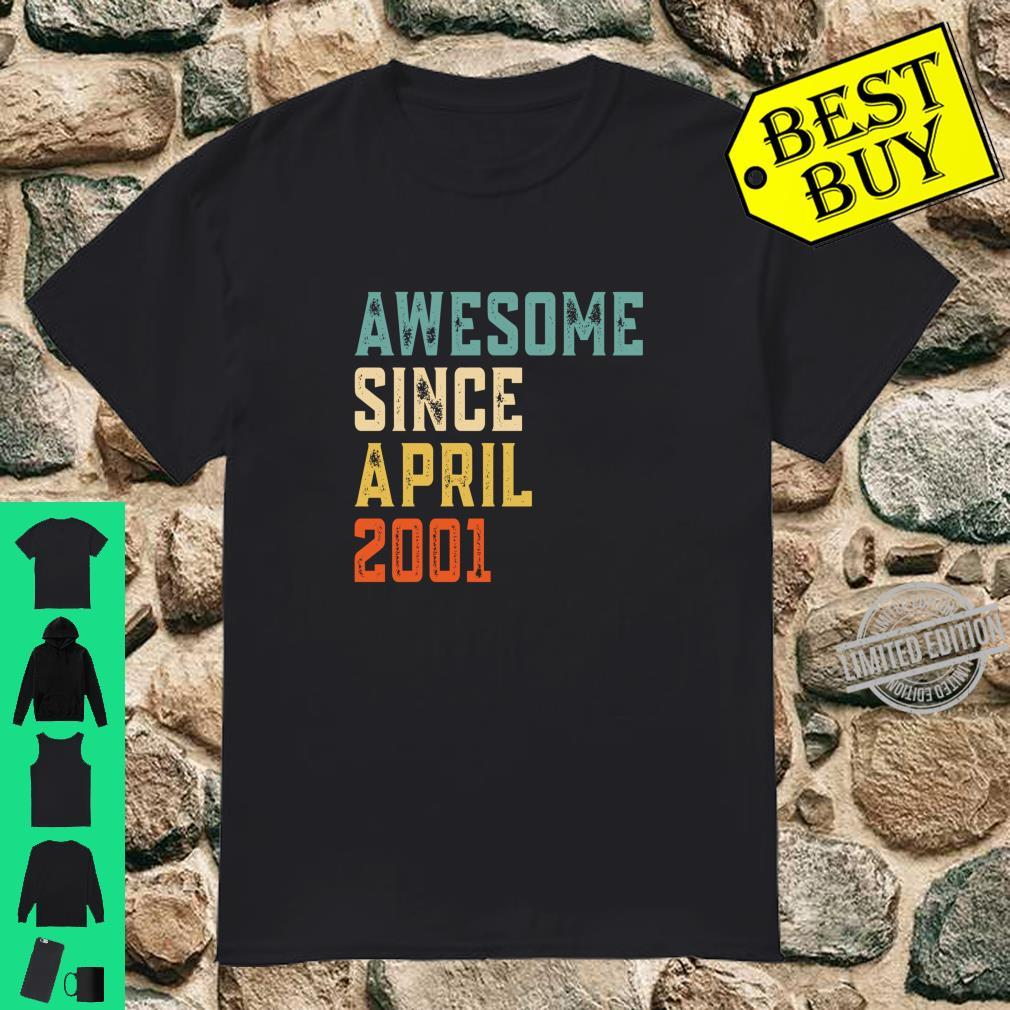 Awesome Since April 2001 Retro Vintage 19th Birthday Shirt