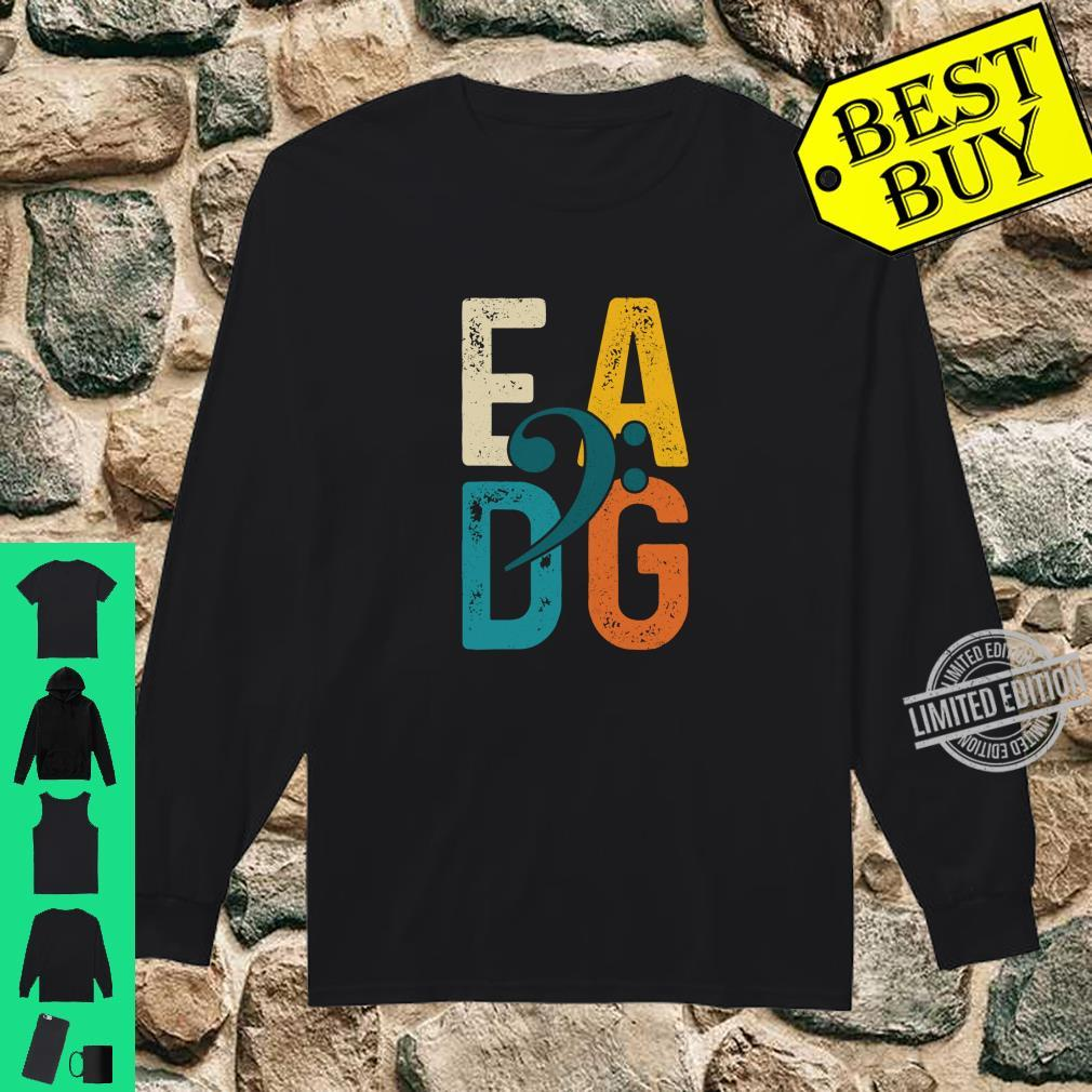 Bass Player Vintage EADG Double Bass Clef Bassist Shirt long sleeved