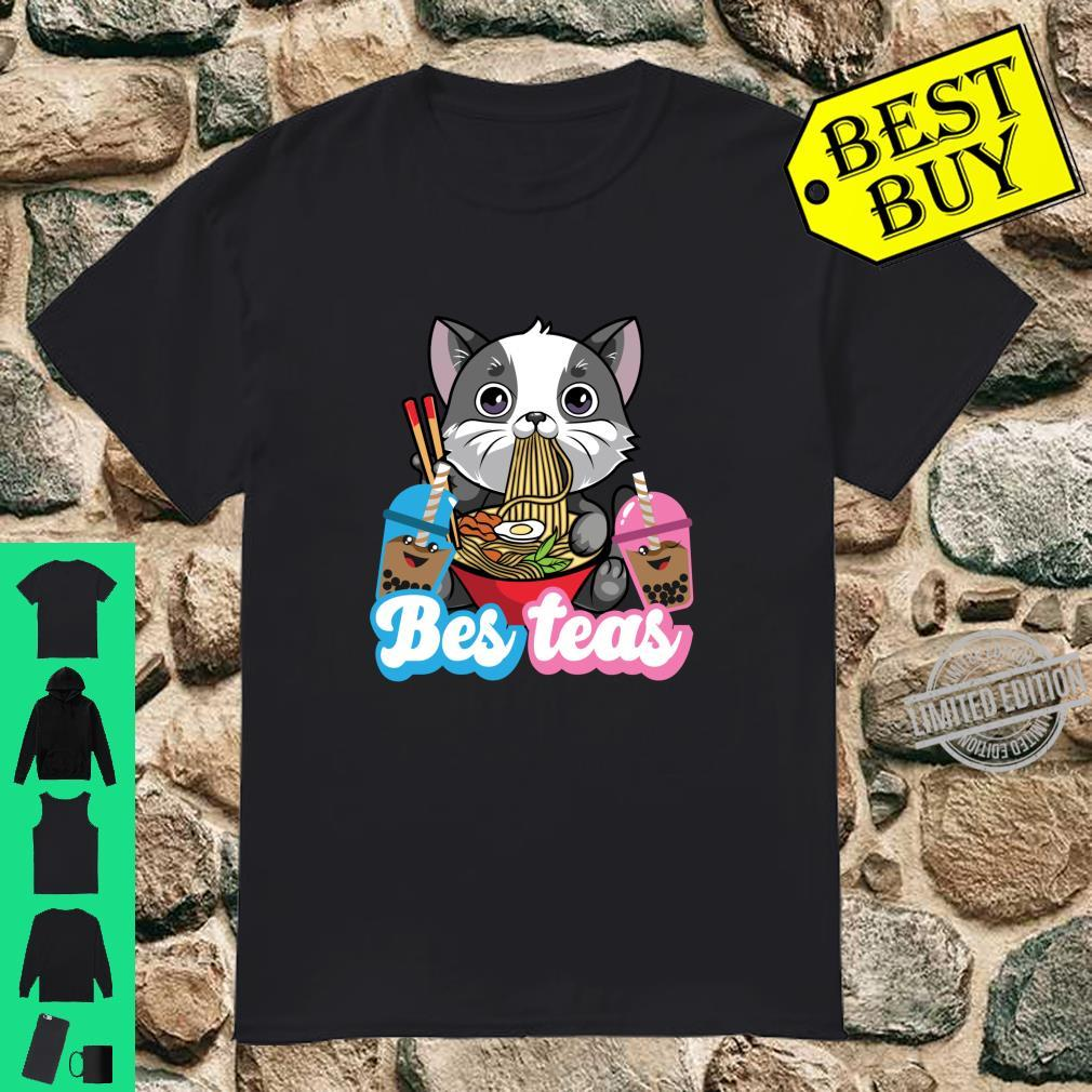 Bes Teas Cute Kawaii Cat Eating Noodles Boda Drinks Shirt