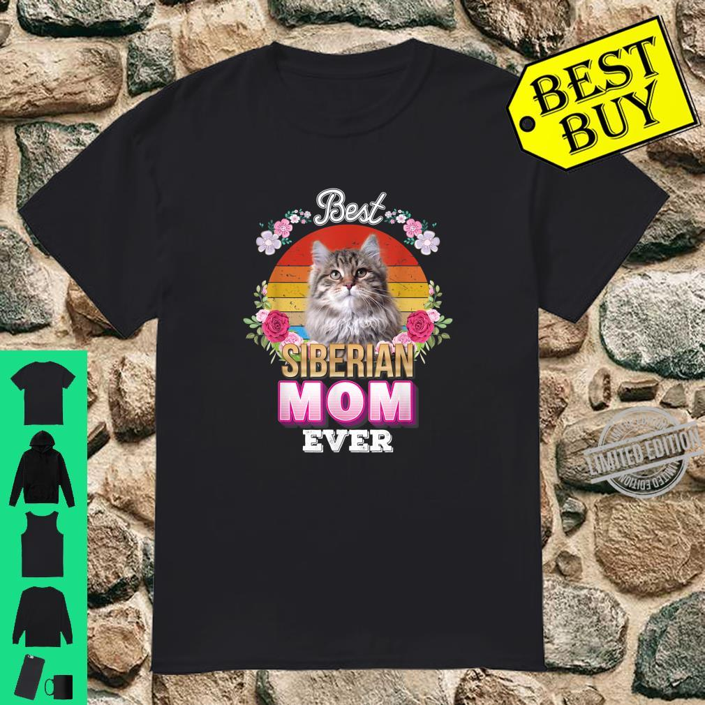 Best Cat Mom Ever Siberian Floral Retro Mother Day Shirt