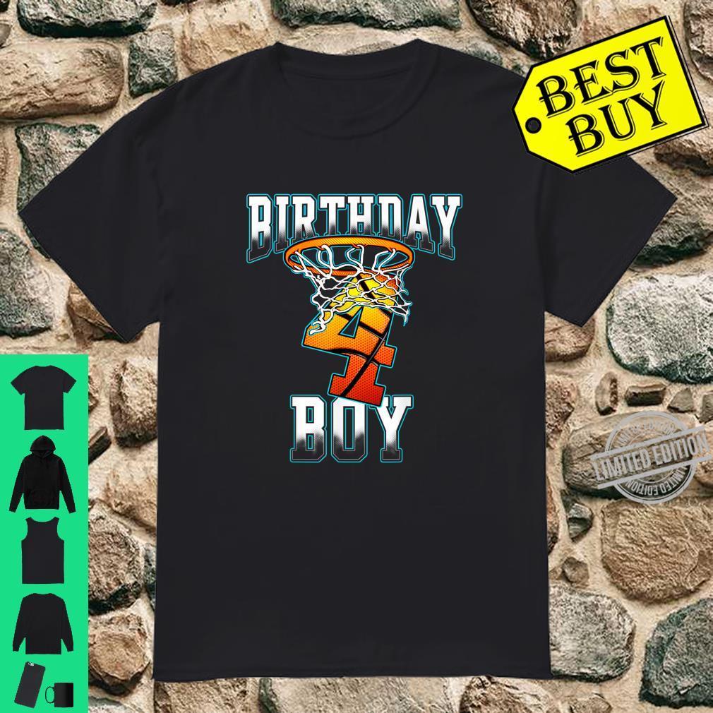 Boy 4 Years Old Birthday Basketball Person Shirt