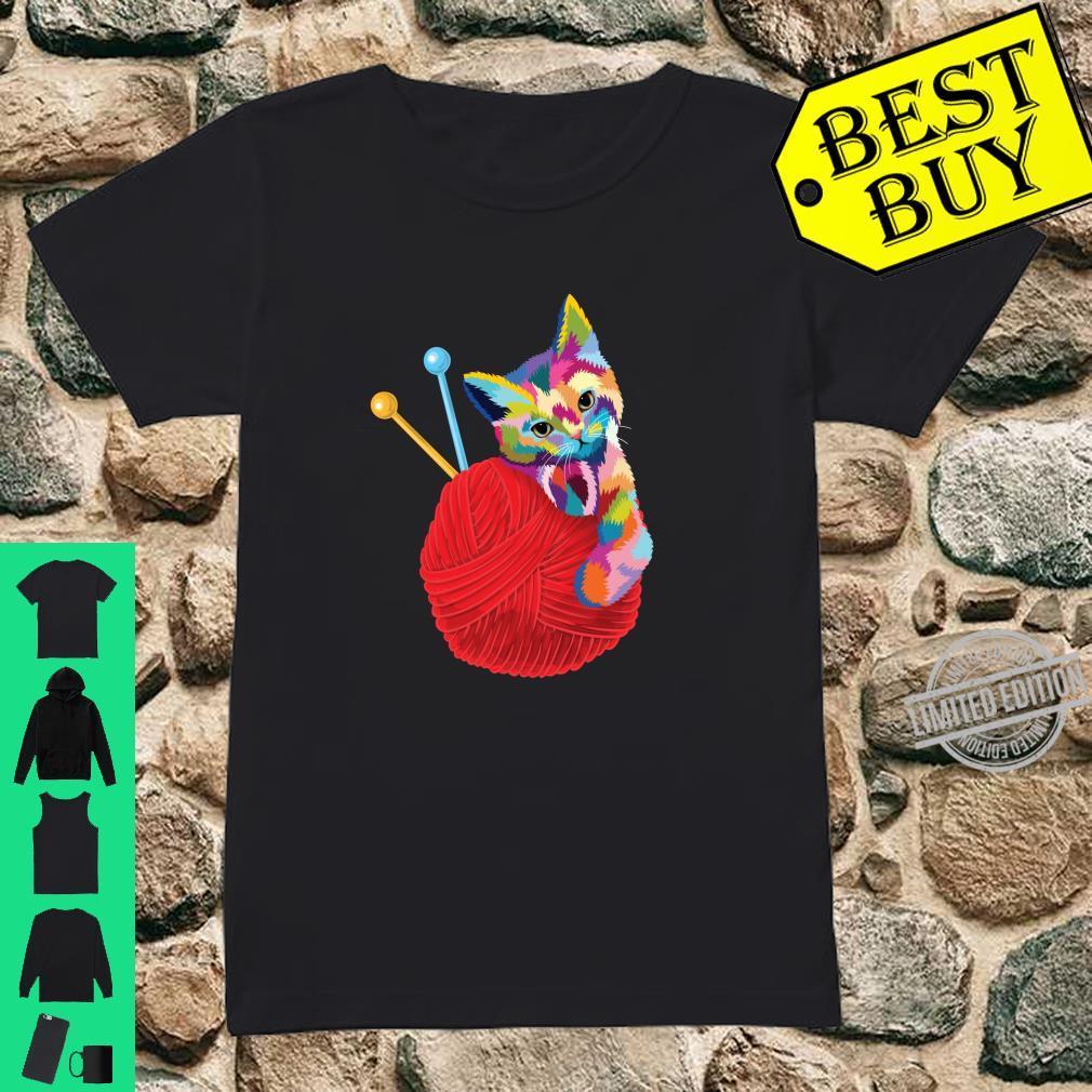 Cat Knitting Shirt Girls Colorful Yarn Ball Cat Shirt ladies tee