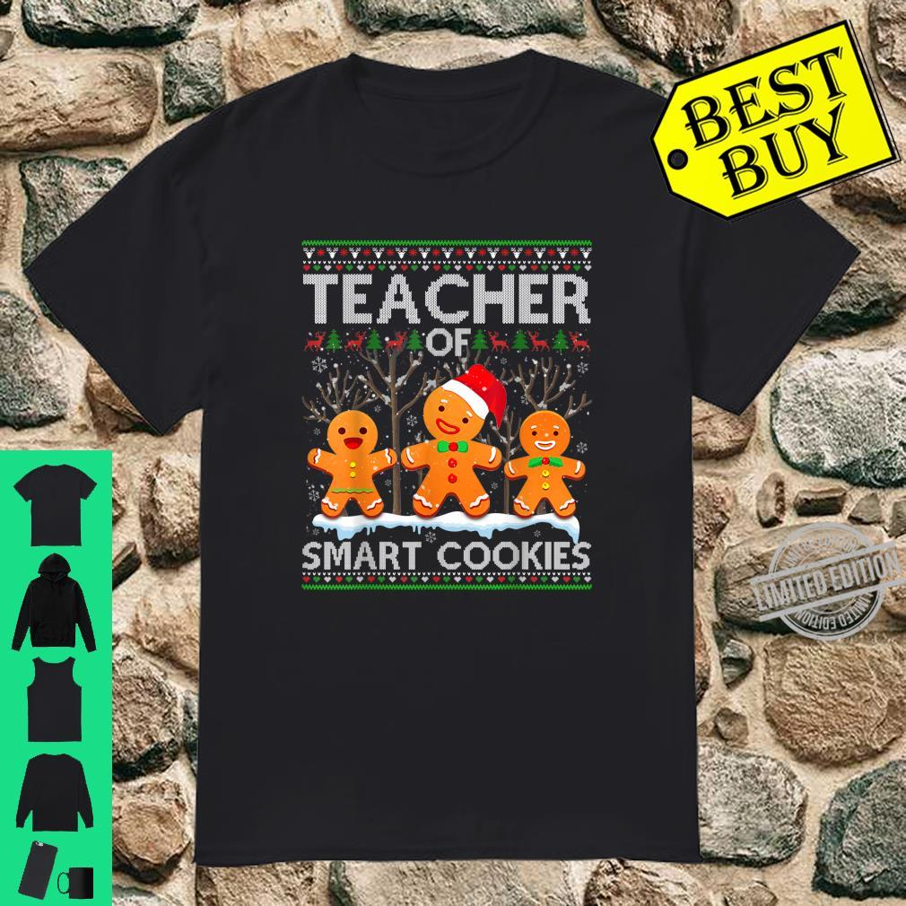 Christmas Teacher Of Smart Cookies Santa Hat Ugly Shirt
