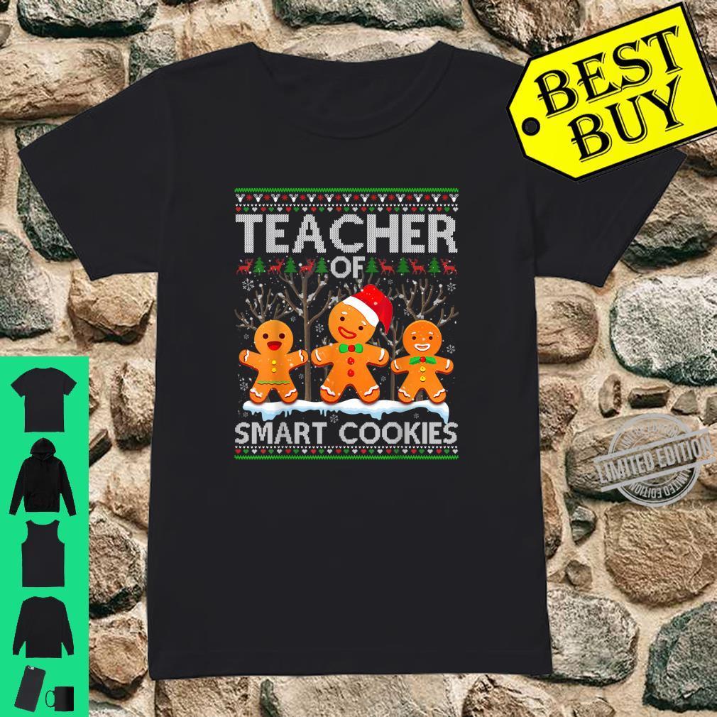 Christmas Teacher Of Smart Cookies Santa Hat Ugly Shirt ladies tee