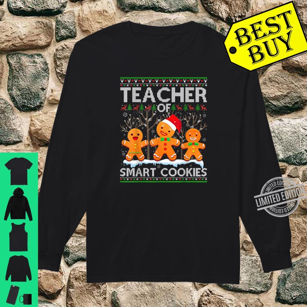 Christmas Teacher Of Smart Cookies Santa Hat Ugly Shirt long sleeved