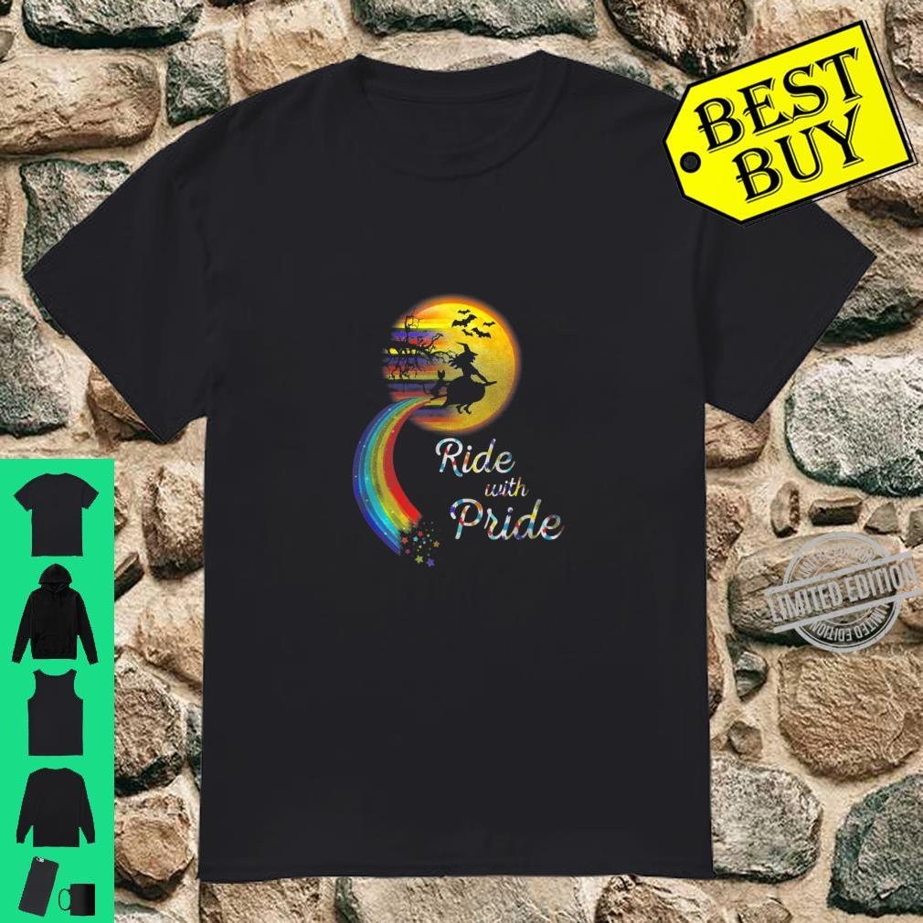 Halloween Witch Ride With Pride Lgbt Shirt