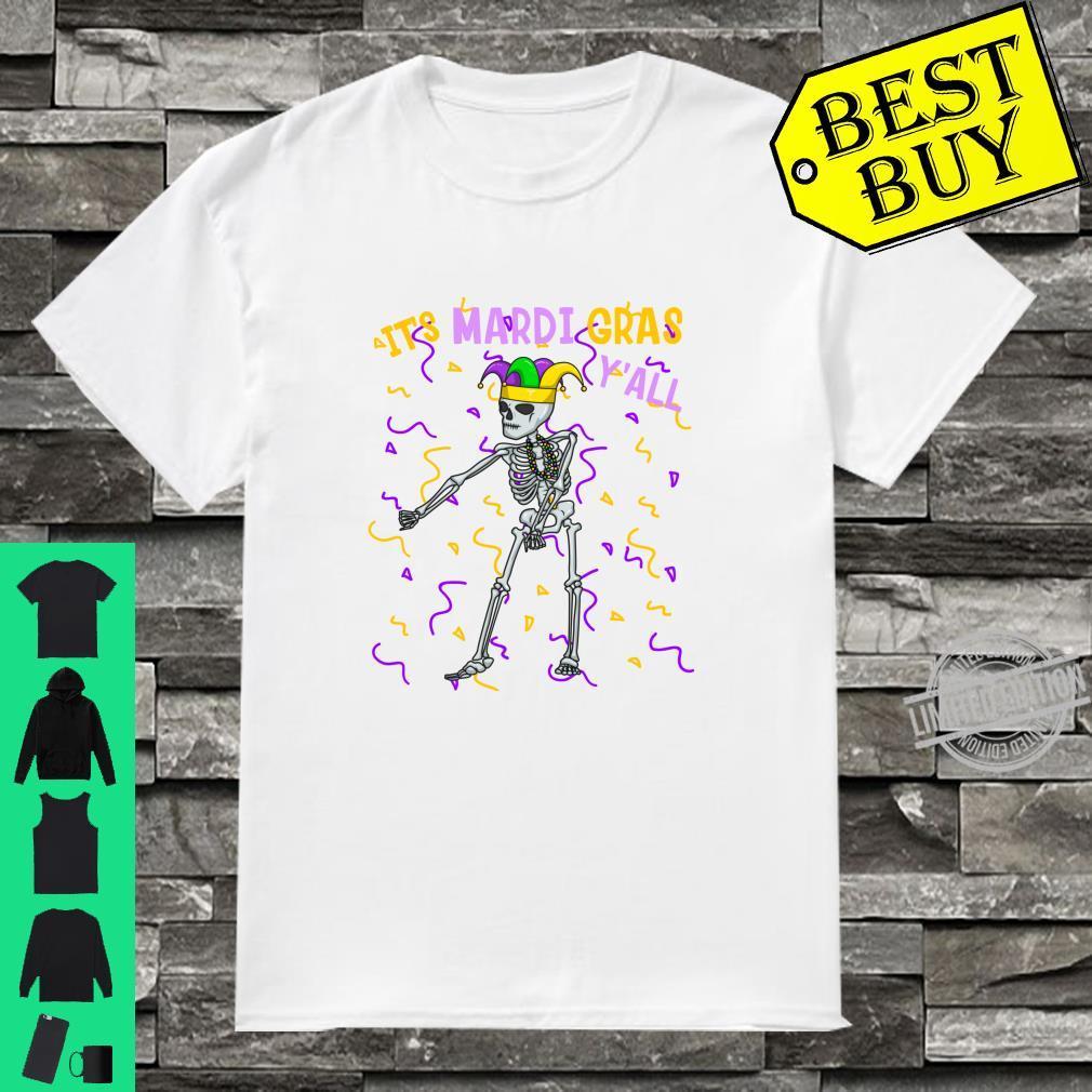 It's Mardi Gras Y'All Flossing Skeleton Bead Costume Shirt