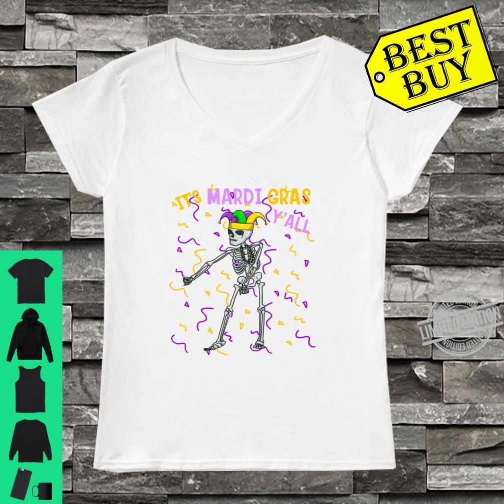 It's Mardi Gras Y'All Flossing Skeleton Bead Costume Shirt ladies tee