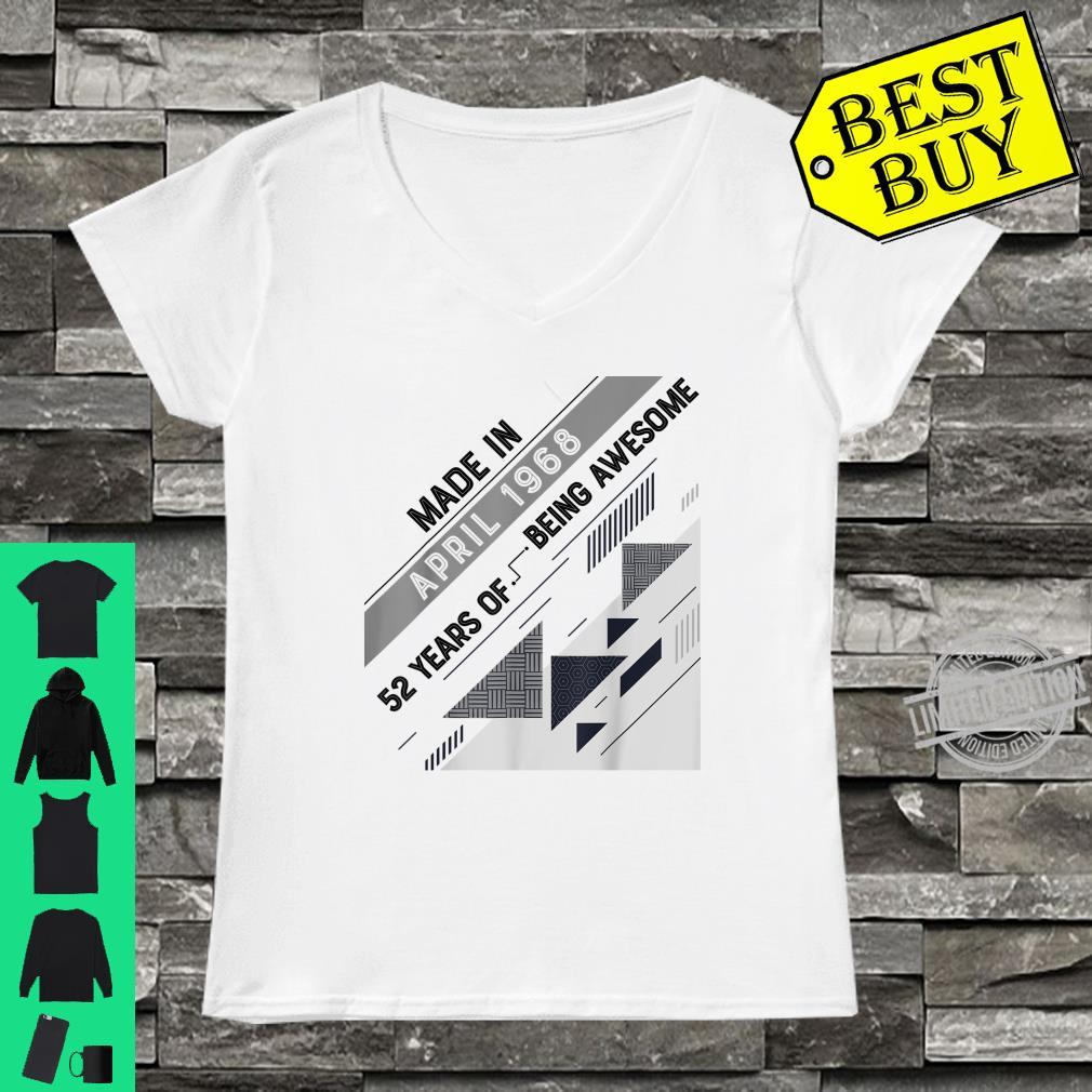 Made in April 1968 52 Years Old 52nd Birthday Shirt ladies tee