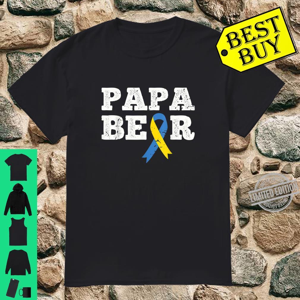 Mens Papa Bear Down Syndrome Ribbon Awareness Shirt