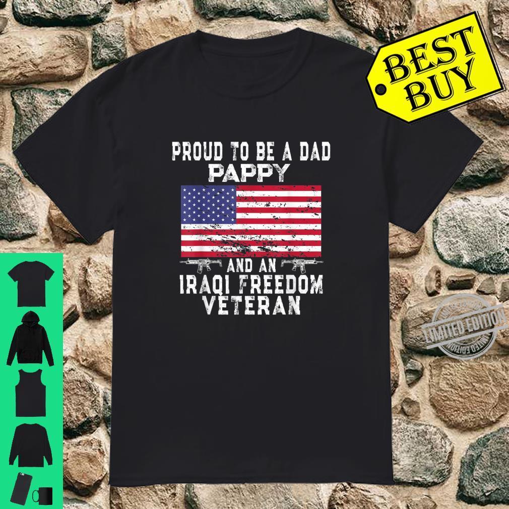Mens Proud Dad Pappy Iraqi Freedom Veteran Retro US Flag Grandpa Shirt