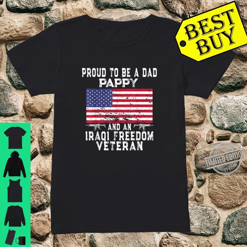 Mens Proud Dad Pappy Iraqi Freedom Veteran Retro US Flag Grandpa Shirt ladies tee
