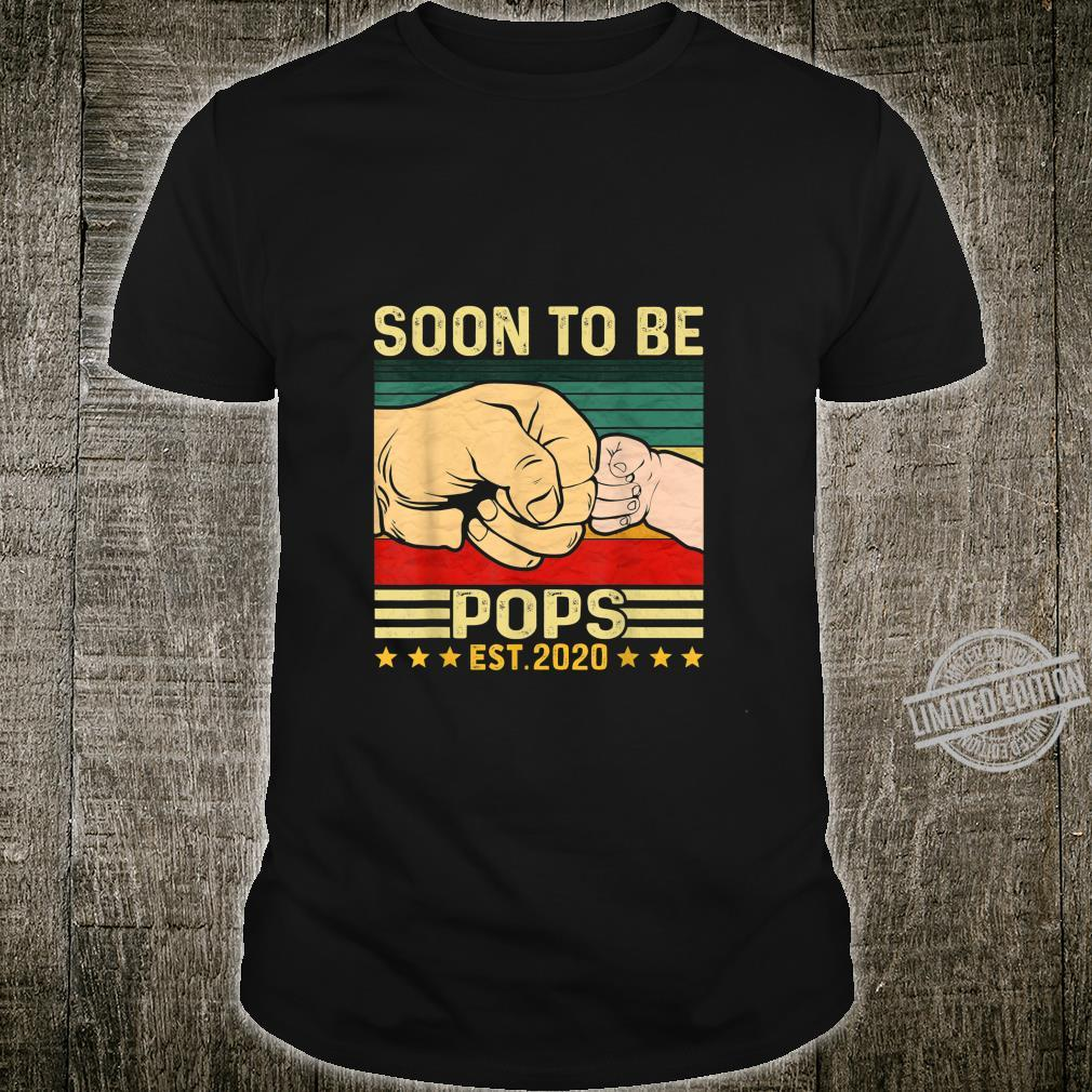 Mens Soon To Be Pops 2020 Vintage Dad Fathers Day Baby Shirt