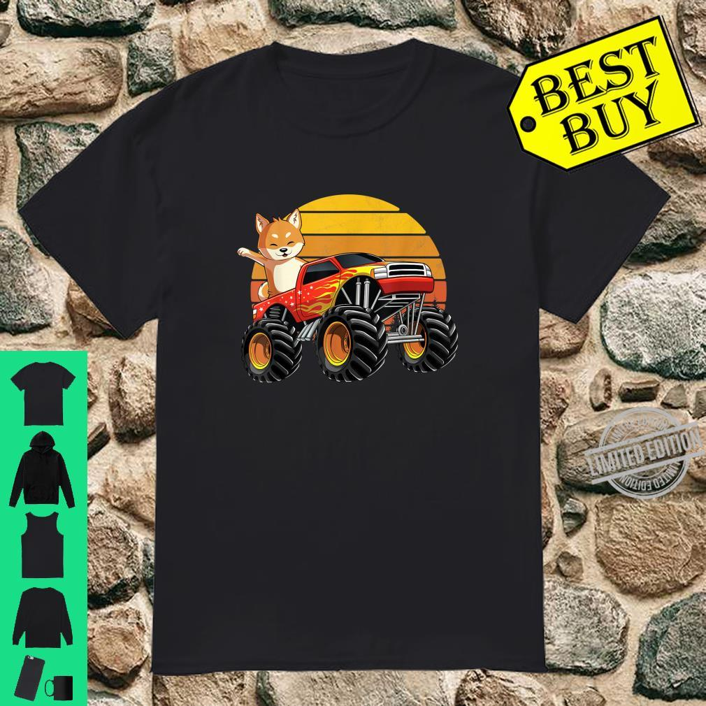 Monster Truck Shiba Inu Dog Retro Sunset Boys Girls Shirt
