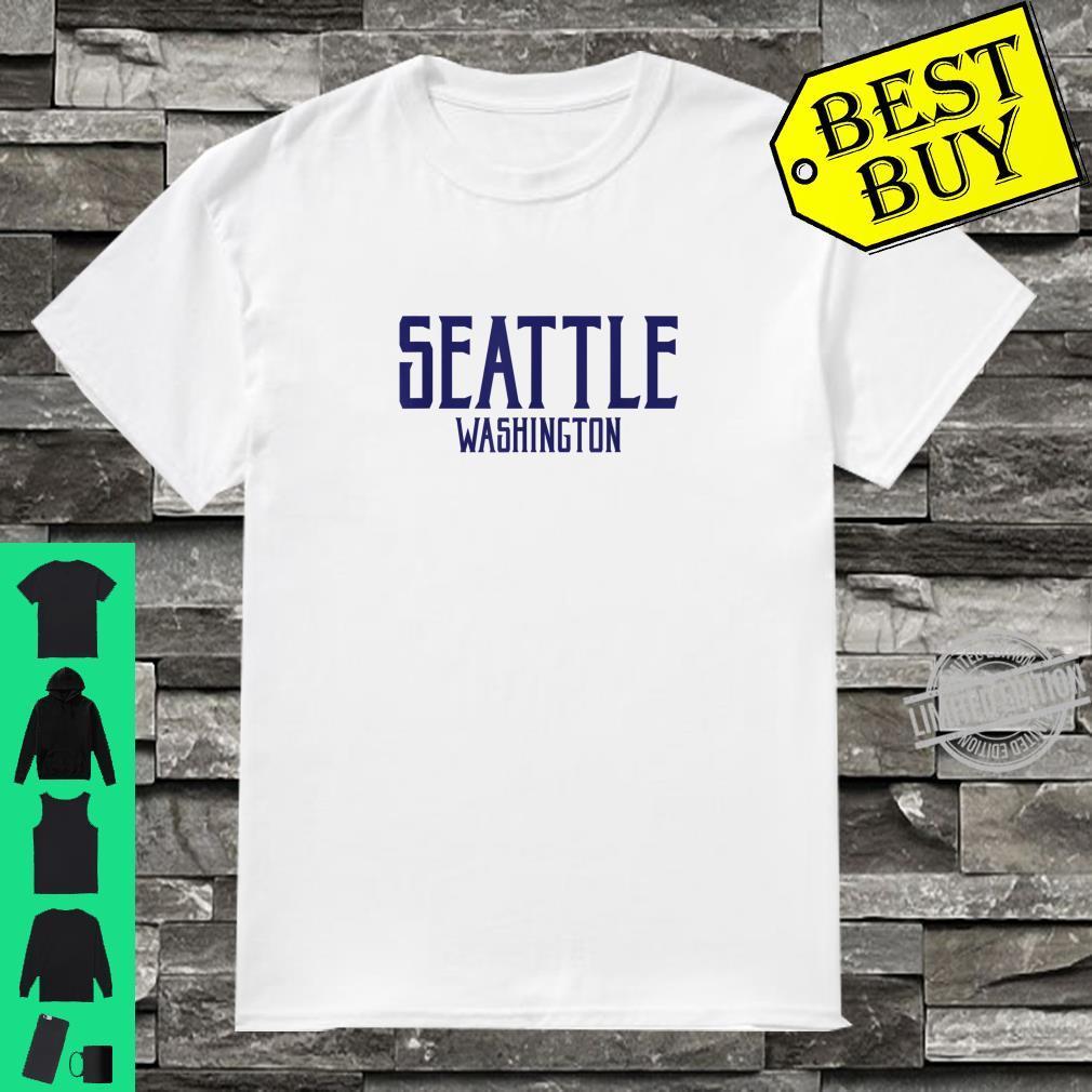 Seattle Vintage Text Navy Blue Print Shirt