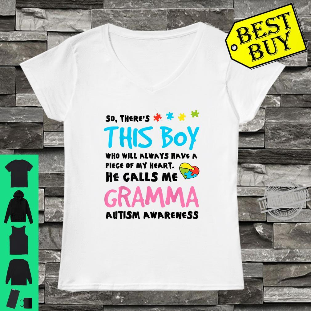 There's This Boy He Calls Me Gramma Autism Awareness Shirt ladies tee