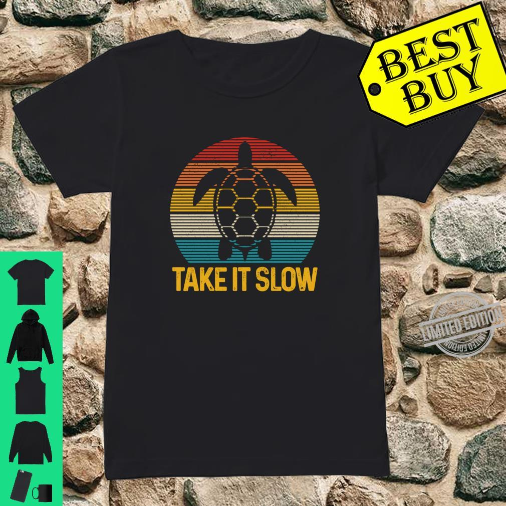 Turtle Take It Slow Vintage Sea Ocean Animal Shirt ladies tee