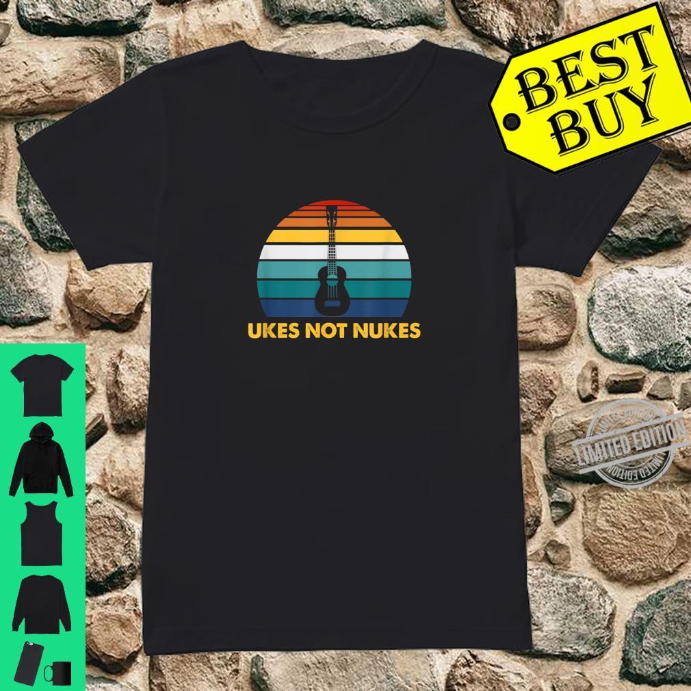 Ukes Not Nukes Ukulele Player Guitar Musician Shirt ladies tee