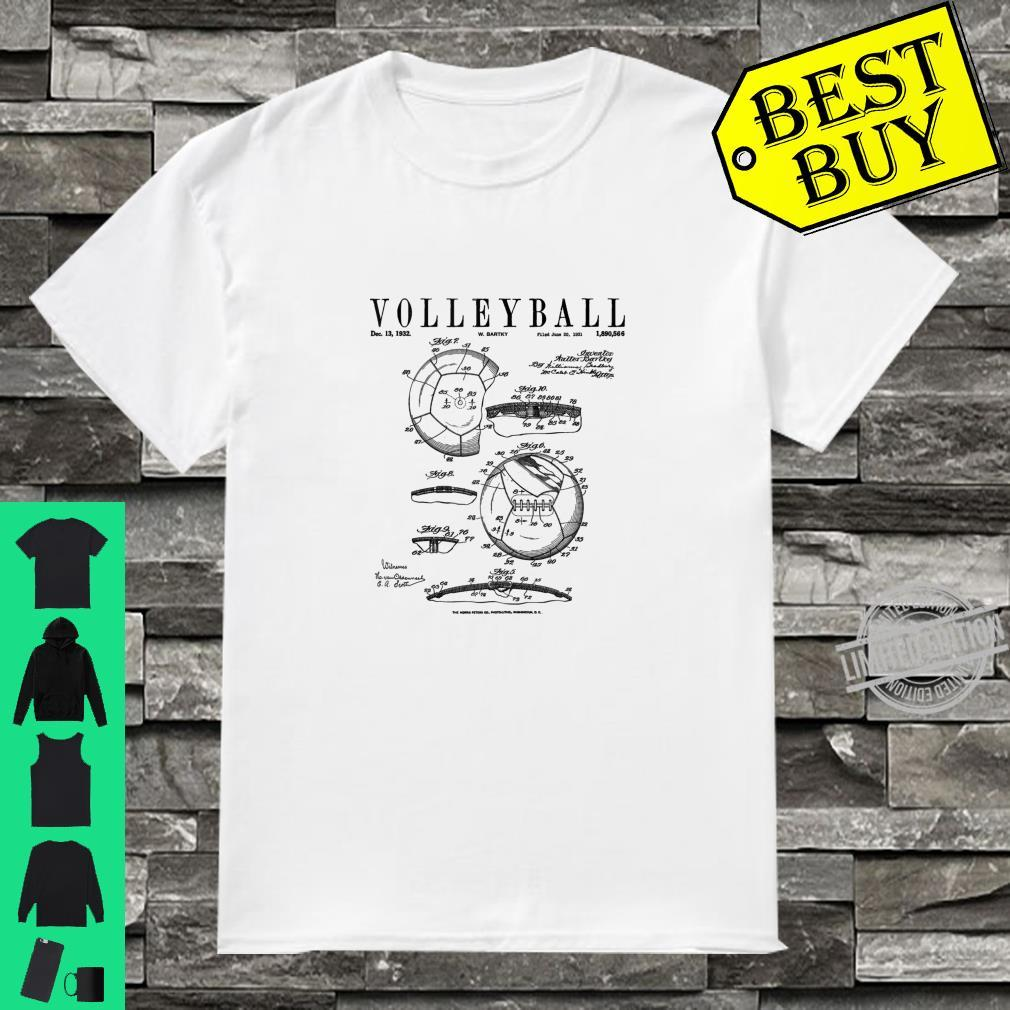 Volleyball Old Vintage Patent Drawing Print Shirt