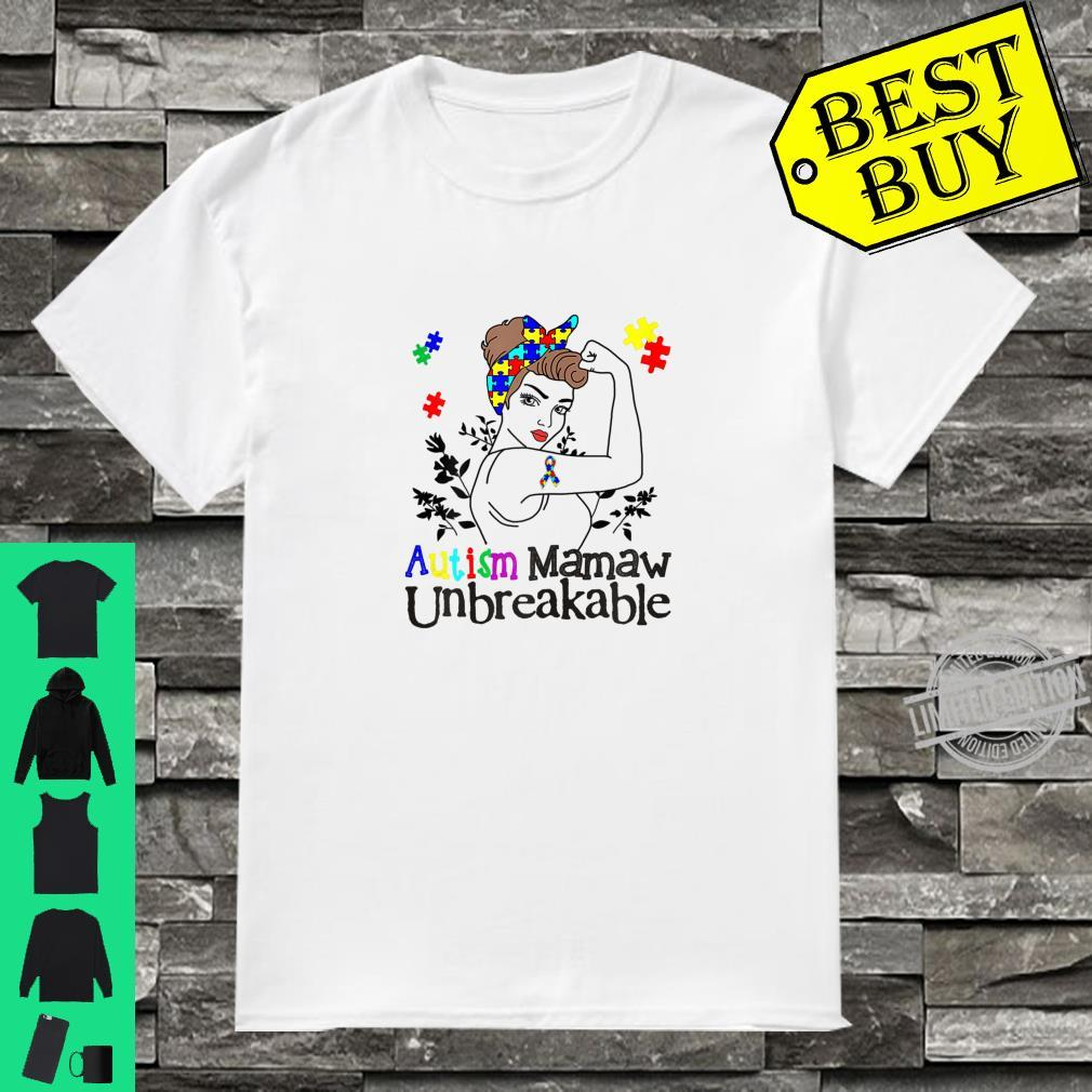 Womens Autism Mamaw Unbreakable Shirt Autistic Awareness Shirt
